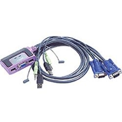 Aten CS-62U Petite 2-Port USB KVM Switch with Audio - Cables Built In