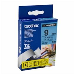 Brother TZ-521 Black Printing on Blue Tape 9mm 8m (Laminated)
