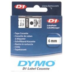 Dymo SD43610 43610 D1 Label Cassette 6mm x 7m - Black/Clear