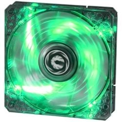 BitFenix 140mm Spectre Pro Series Fan, Tinted Transparent Black and Green LED, High Pressure/CFM with Reinforced Fan Blades, Fluid Dynamic Bearing