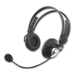 Creative 51MZ0220AA002 HS-350 Communications Headset, Internet Voice Application, Flexible Boom Mic, L/R Wearable, OFC Cable, Black/Silver