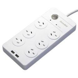 Huntkey 6 Outlet Surge Protected Powerboard with Dual 5V 2.1A USB Ports