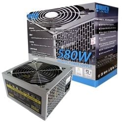 PowerCase PSUPOW580W12RET 580W 120mm Silent Fan Power Supply Retail