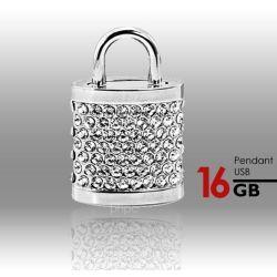 16GB Crystal Lock Pendant USB Flash Drive Pen Stick Memory - Silver