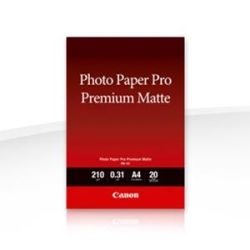 Canon PM101A4 PM-101 A4, 20 Sheets, 210gsm, Photo Paper Pro Premium Matte, Smooth Texture with warm white tone for prints without the reflective sheen