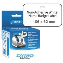 Dymo SD30856 Name Badge Labels, Large - White Card 62mm X 106mm 1 Roll/Box, 250 Labels/Roll non-adhesive