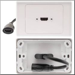 Pro2 Horizontal HDMI Wall Plate with Flexible Rear Socket Single 1x HDMI