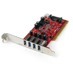 StarTech 4-Port PCI SuperSpeed USB 3.0 Adapter Card with SATA/SP4 Power
