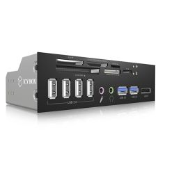 Icy Box IB-863-A: 5.25 inch Multi-Port Card Reader with USB 3.0, USB 2.0 Hub, eSATA, HD Audio