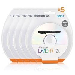 MEMOREX (5 Pack) Printable White Top DVD-R 4.7G 16x 10PCs/Pack with Bonus Mark Pen