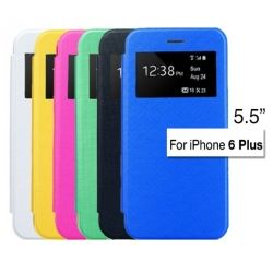 Window View Slim Leather Flip Case Frosted PC Cover for iPhone 6 PLUS 5.5 inch (Black, Blue, Yellow, Pink, White, Green, )
