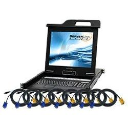 ServerLink LCD Console Drawer 17 inch, 8-Port KVM VGA, USB, PS/2 Optional IP Access with 8x 1.8m VGA, USB Cables