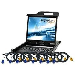ServerLink LCD Console Drawer 19 inch, 8-Port KVM VGA, USB, PS/2 with Remote IP Access and 8x 1.8m VGA, USB Cables