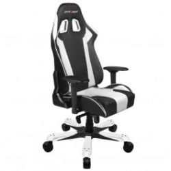 DXRacer KS06 Series Gaming Chair, Neck/Lumbar Support - Black and White