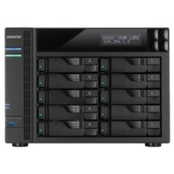 Asustor 10-Bay Tower NAS - Cel Quad-Core, 4GB, Up To 80TB, GbE/USB3/eSATA/HDMI/LCD (No HDD)