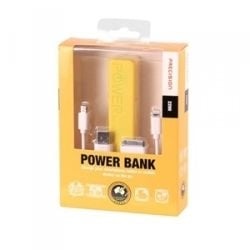 Laser 2200mah Emergency Power Bank with 3-in-1 Charging Cable Precision - Yellow