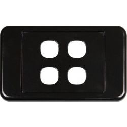 4 Way Clipsal Style Wall Plate - Black