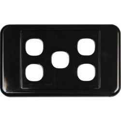 5 Way Clipsal Style Wall Plate - Black