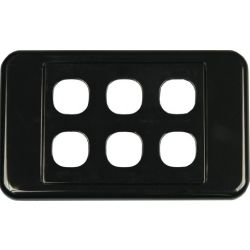 6 Way Clipsal Style Wall Plate - Black