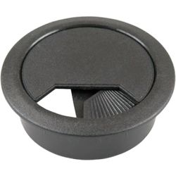 Desk Grommet Round 60mm - Black with shutter