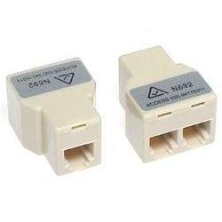RJ12 Modular Coupler 3-Way Straight Thru 1x RJ12 Female to 2x RJ12 Female 6P6C