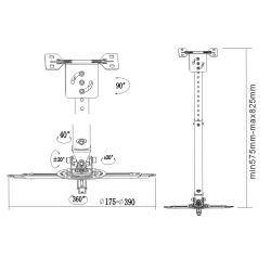 Projector Bracket: Telescopic Ceiling Mount: Black up to 20kg