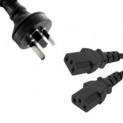 8Ware Power Cable from 3-Pin AU Male to 2 IEC C13 Female Plug in 1m