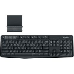 Logitech Multi Device Wireless Keyboard and Stand Combo for Computer, Phone and Tablet, Start typing on your computer, then Switch to your Phone
