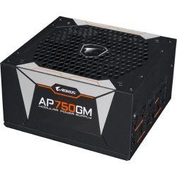Gigabyte AP750GM AORUS 750W ATX PSU Power Supply 80+ Gold Modular >90% 135mm Fan Black Flat Cables Single +12V Rail Japanese Capacitors >100K Hrs MTBF