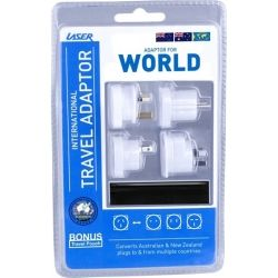 Laser Travel Adapters 4 Pack, with bonus Pouch