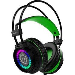 Element G G350 RGB Virtual 7.1 USB Gaming Headset (Black/Green)   Integrated Microphone