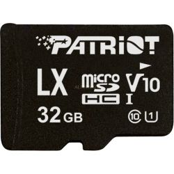 Patriot PSF32GLX1MCH, LX 32GB Class 10, U1, Micro SDHC V10 and UHS-I Flash Card, SD adapter, up to 80mb/s read, 1080 Full HD, High level copy protecti