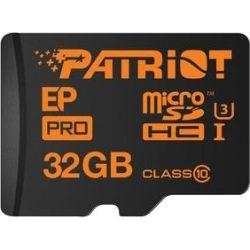 Patriot EP Pro PEF32GEPMCSHC10, 32GB Extreme Pro Class 10 MicroSDHC/XC and UHS-I and U3 Flash Card, 4K Video recording, UHD photography, SD adapter, u