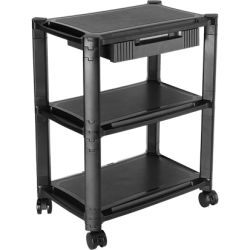 Brateck Height-Adjustable Smart Cart XL with Three-Shelves and Drawer 13 inch - 32 inch