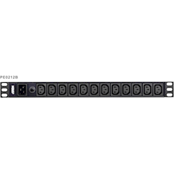 Aten (PE0212G-AT-G) 12-Port 1U Basic PDU Supports up to 15A with 12 IEC C13 Outputs